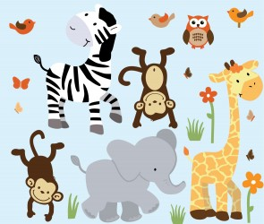 Jungle Nursery Wall Decals With Zebra Decals For Boys Bedrooms