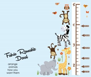 Jungle Wall Art With Growth Chart Wall Decal For Nursery or Baby Room