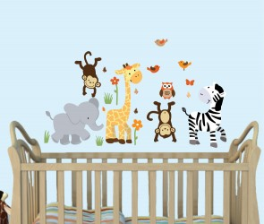 Jungle Wall Stickers For Nursery With Giraffe Wall Decals For Children  sc 1 st  Nursery Decals and More & Mini Jungle Animal Wall Decals are Perfect Above a Nursery Crib.