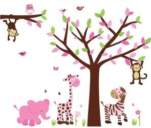 Pink & Green Safari Wall Art With Tree Wall Decals For Kids