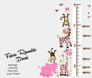 Pink and Green Jungle Wall Art For Nursery With Wall Growth Charts For Children For Kids