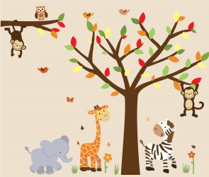 Jungle Wall Stickers With Elephant Stickers For Boys Bedrooms