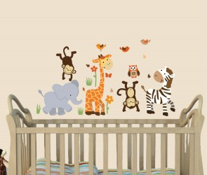 Jungle Wall Art For Nursery With Giraffe Decals For Kids