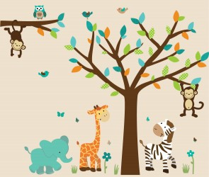 Teal Safari Murals With Elephant Decals For Boys Rooms