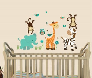 Teal Wall Decals Jungle With Wall Sticker Giraffe For Play Rooms