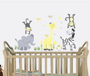 Yellow & Gray Jungle Wall Murals With Giraffe Wall Art For Play Rooms