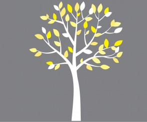 Small Yellow and Gray Wall Decals Tree For Girls Rooms