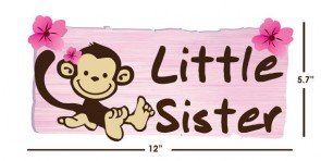 Little Sister Door Decals with Little Monkey Murals For Girls Bedrooms