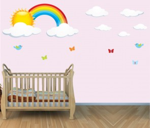 Large Wall Stickers With Rainbow Wall Decals For Nursery