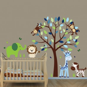 Green & Blue Jungle Tree Wall Decals With Elephant Decals For Boys Rooms