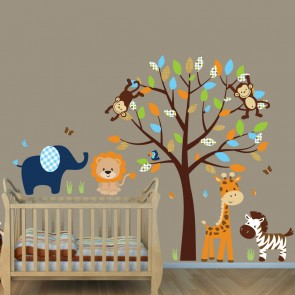 Navy and Orange Jungle Wall Stickers For Nursery With Elephant Stickers For Kids Rooms