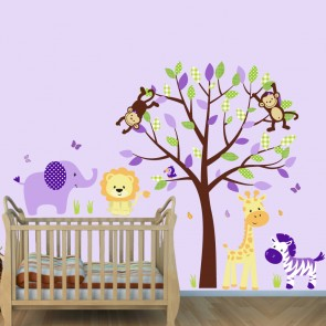 Purple Jungle Stickers With Elephant Wall Decals For Girls