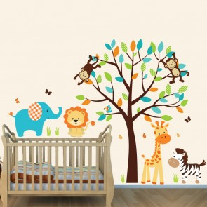 Cheerful Safari Wall Decals With Elephant Wall Decor For Boys Rooms