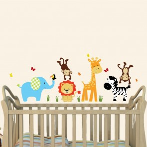 Colorful Jungle Wall Decorations With Giraffe Decals For Kids