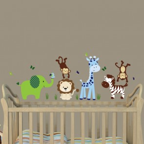 Green & Blue Nursery Jungle Wall Decals With Giraffe Wall Art For Nursery or Baby Room