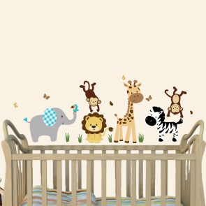 Gray & Orange Jungle Wall Decals For Nursery With Giraffe Wall Decal For Nursery or Baby Room