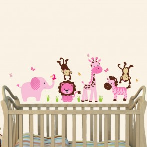 Pink Nursery Jungle Wall Decals With Giraffe Wall Art For Kids