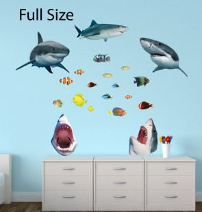 Wall Stickers Giant With Shark Wall Decor For Nursery or Baby Room