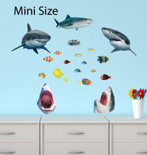 Mini Shark Wall Stickers With Tropical Fish Decals ( 5 Sharks )