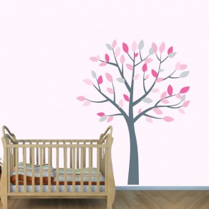 Pink and Grey Tree Wall Decal For Nursery For Children