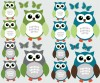 12 Reg Owls - Blue Gray - Owl Wall Decor