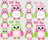 12 Reg Owls - Pink Green - Owl Wall Decor