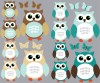12 Reg Owls - Teal - Owl Wall Decor