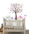 Mini Pink Purple Elephant Tree Wall Stickers