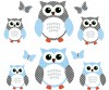 6 Reg Owls - Blue White - Owl Wall Decals