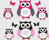 6 Reg Owls - Pink Black - Owl Wall Decals