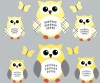 6 Reg Owls - Yellow Gray - Owl Wall Decals