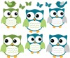 6 Fat Owls - Blue Gray - Owl Wall Stickers