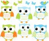 6 Fat Owls - Colorful - Owl Wall Stickers