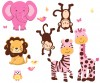 Expedition Pink and Green - Animals Only - Wall Stickers