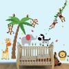 Palm Tree with Animal Wall Stickers - Full Size