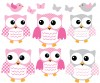 6 Fat Owls - Pink and Gray - Owl Wall Stickers