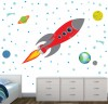 Red and Gray Rocket and Planets Outer Space Wall Decal