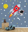 Rocket Mission for Dark Colored Walls Space Decals