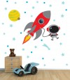 Rocket Mission for Light Colored Walls Space Decals
