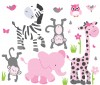 Wild Animals - Pink Gray - Animal Wall Decals