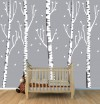 Five Gray Birch Tree Decals - Gradient