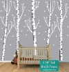 "Five Gray Birch Tree Decals - Gradient (119"")"