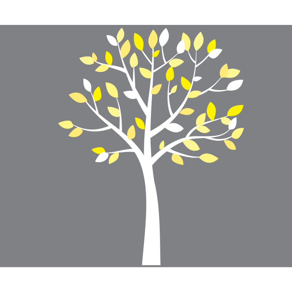Yellow And Gray White Tree Wall Decals